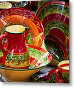 Pottery For Sale At A Market Stall Metal Print