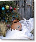 Pottery In Snow At Xmas Metal Print