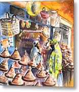 Pottery Seller In Essaouira Metal Print
