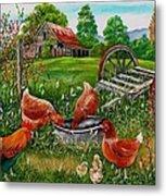 Poultry Peckin Pals Metal Print