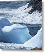 Pounding Surf With Icebergs Metal Print