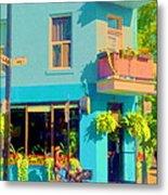 Powder Blue Corner Cafe Elses Pub Rue Roy  Montreal Sunny Summer Cafe Scene Carole Spandau Metal Print