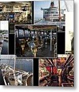 Power Collage Queen Mary Ocean Liner Long Beach Ca 01 Metal Print