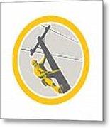 Power Lineman Repairman Climbing Pole Circle Metal Print by Aloysius Patrimonio