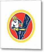 Power Lineman Repairman Harness Climbing Circle Metal Print