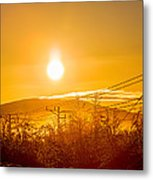 Power Lines And Trees In The Frozen Metal Print