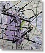 Power Lines On Map Metal Print