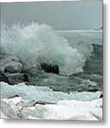 Powerful Winter Surf Metal Print