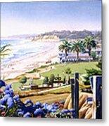 Powerhouse Beach Del Mar Blue Metal Print by Mary Helmreich