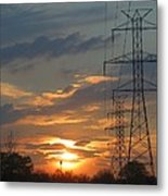 Powerline Sunset Metal Print