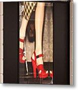 Prada Red Shoes Metal Print