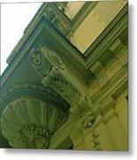 Prague Building In Green Metal Print