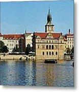 Prague East And Charles Bridge Metal Print