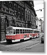Prague Tram Vintage Metal Print