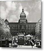 Prague Wenceslas Square And National Museum Metal Print by Christine Till