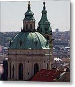 Prague With Pink Metal Print