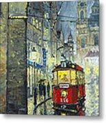 Praha Red Tram Mostecka Str  Metal Print
