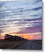 Prairie Sunrise With Train Metal Print