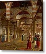 Prayer In The Mosque Metal Print by Jean-Leon Gerome