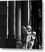 Praying Angle - Sucre Cemetery In Black And White Metal Print