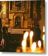 Praying By Candlelight Metal Print