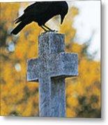 Praying Crow On Cross Metal Print