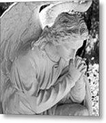 Praying Male Angel Near Infrared Black And White Metal Print