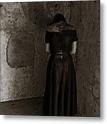 Praying To The Thing That Lives In Thewall Metal Print by Louis Maistros