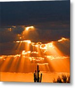 Pre Sunset Sky With Saguaro Metal Print