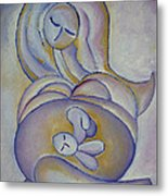 Pregnancy Oil Painting In The Belly Original By Gioia Albano Metal Print