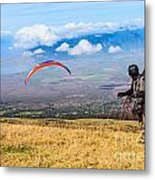Preparing For Take Off - Paragliders Taking Off High Over Maui. Metal Print