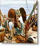 Preparing The Nets Metal Print by Karol Wyckoff