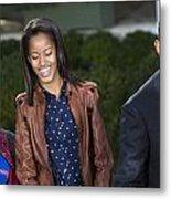 President Obama And Daughters Metal Print