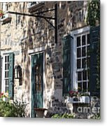 Pretty Brick Building And Flower Boxes Metal Print