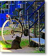 Pretty Cat In Verdun Taking The Sun Blue Picket Fence And Bike Montreal Garden Scene Carole Spandau  Metal Print