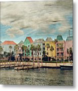 Pretty Houses All In A Row Nassau Metal Print by Kathy Jennings