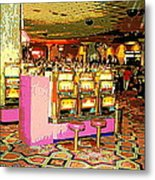 Pretty In Pink Bar Stools And Slots Reserved For Spring Break High Rollers   Metal Print