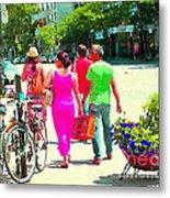 Pretty Pink Summer Dress Sunny Stroll Licari St Denis Scene Montreal Bike Racks And Flowers Cspandau Metal Print