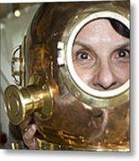 Pretty Woman In Copper Helmet Metal Print