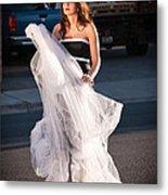 Pretty Woman With Gun Behind The Veil Metal Print