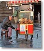 Pretzel Seller With Pushcart Istanbul Turkey Metal Print