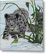 Preying In The Snow Metal Print by Carol Hamby