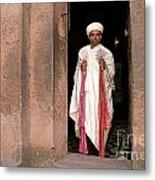 Priest At Ancient Rock Hewn Churches Of Lalibela Ethiopia Metal Print