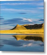 Priest Butte Reflects Into Wetlands Metal Print