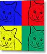 Primary And Green Cats Metal Print