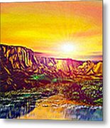 Rainbow Dawn Over Primeval Tide  Life Begins V3 Metal Print