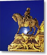 Prince Eugene Of Savoy Statue At Night Metal Print