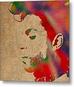 Prince Watercolor Portrait On Worn Distressed Canvas Metal Print