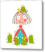 Princess And Many Prince Frogs Portrait Metal Print