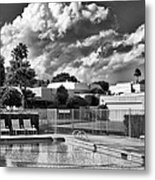 Pristine Pool Bw Marrakesh Palm Springs Metal Print